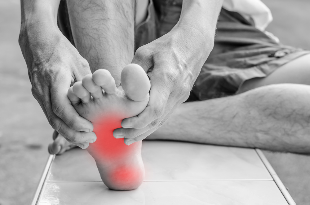 Man with foot pain due to plantar fasciitis