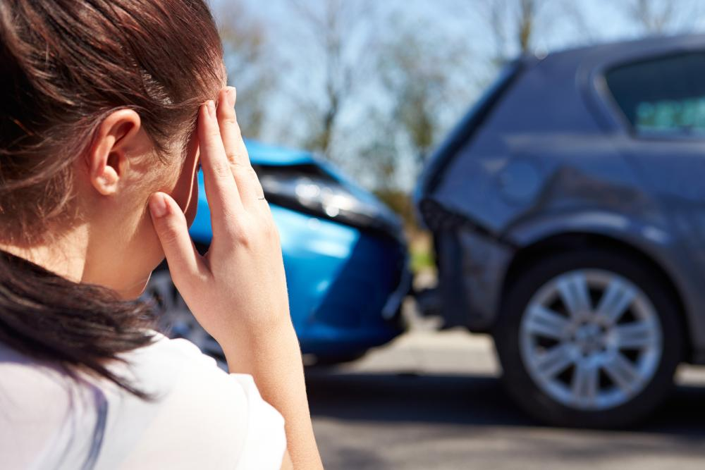 woman and auto accident